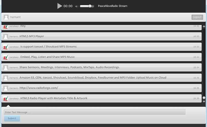 HTML5 Radio Icecast Shoutcast Player with Text Chat
