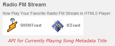 API - Current Playing ICECAST SHOUTCAST METADATA